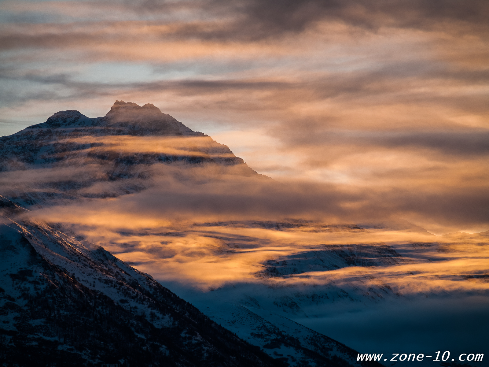 Clouds and Mountains at Sunrise